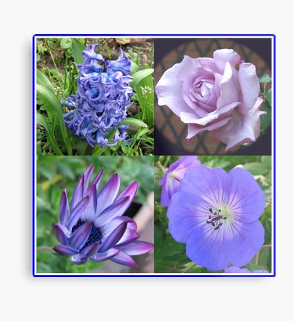 Blue Beauties Collage -  A Floral Study in Blue Metallbild