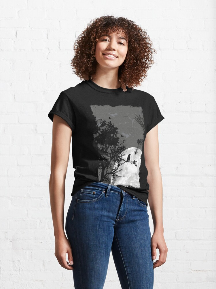 Alternate view of Raven at night in the full moon black bird Classic T-Shirt