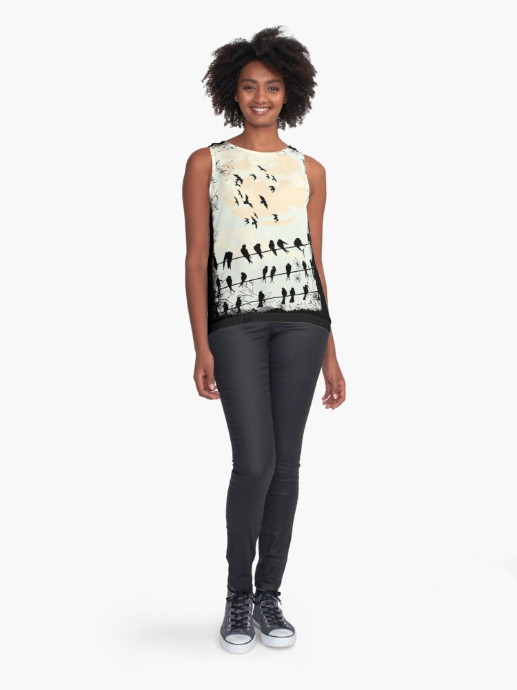 Alternate view of swallows gather to migrate south Sleeveless Top