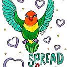 Spread Love - Animals of Inspiration Lovebird Illustration by mellierosetest