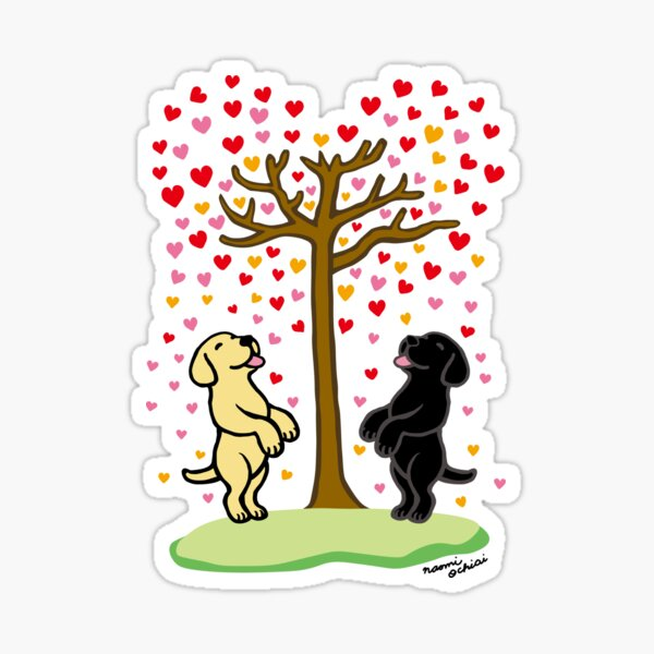 Shower of Hearts and Yellow Labrador and Black Labrador Sticker