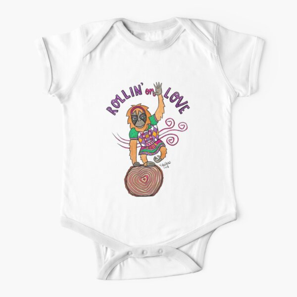 Rollin on Love - Animals of Inspiration Orangutan Illustration Short Sleeve Baby One-Piece