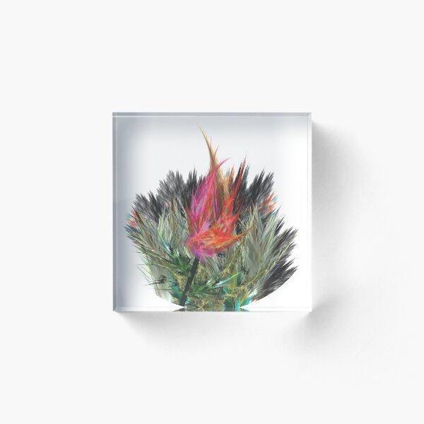Tulip, fractal art, digital painting Acrylic Block