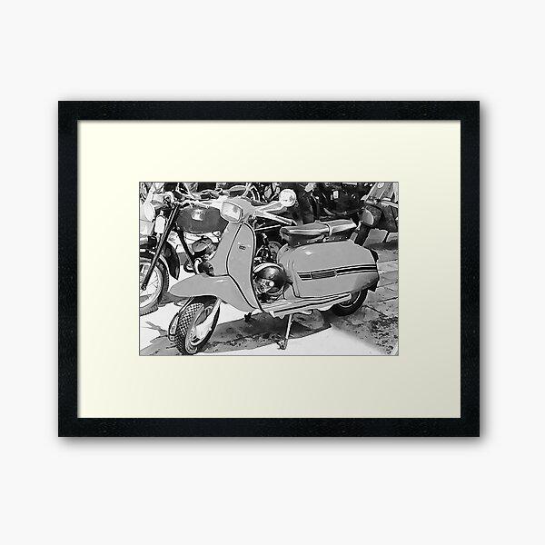 Lambretta Scooter Black and White Framed Art Print