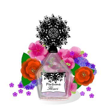 Cosmetic Perfume Bottle Pretty Flowers Feminine Chic Design by Artification