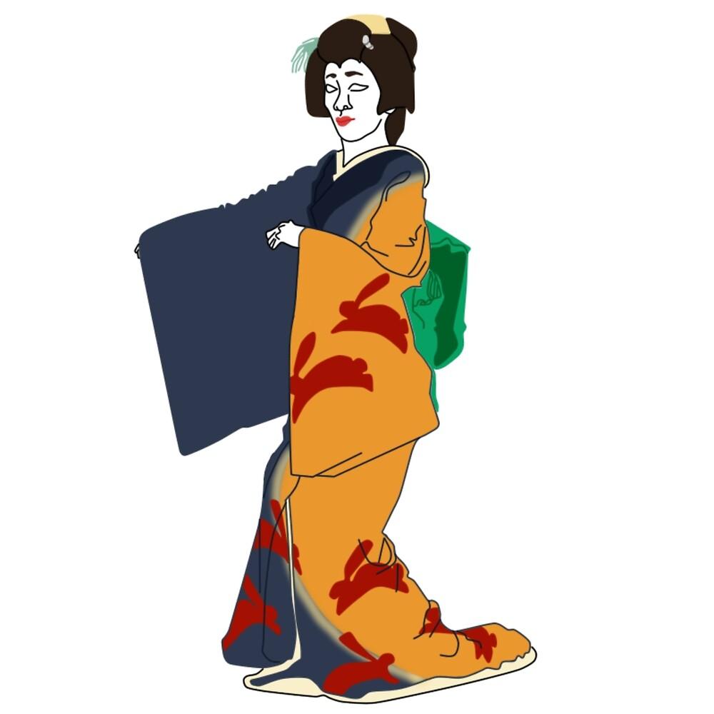 Moon-viewing Kimono Motif by KHRArts
