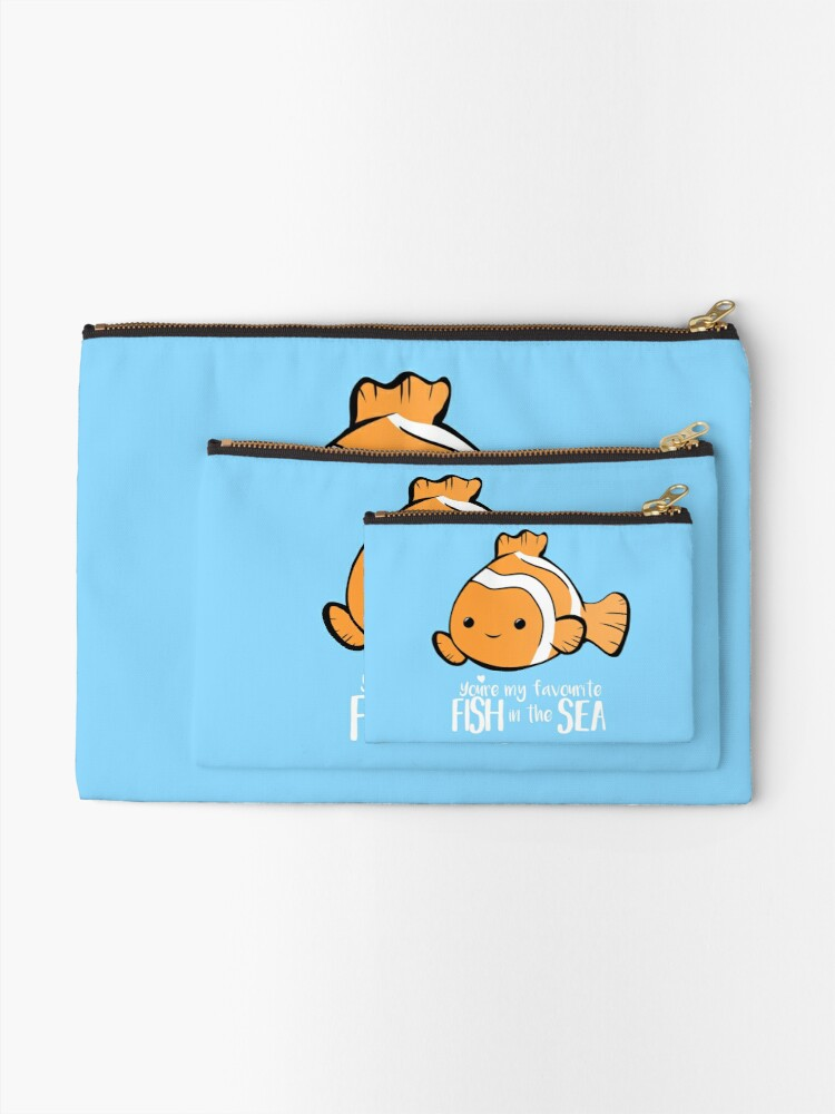 Alternate view of You're my favourite FISH in the sea - Valentines day pun - Anniversary Pun - Birthday Pun - Fish Pun - Clownfish Zipper Pouch