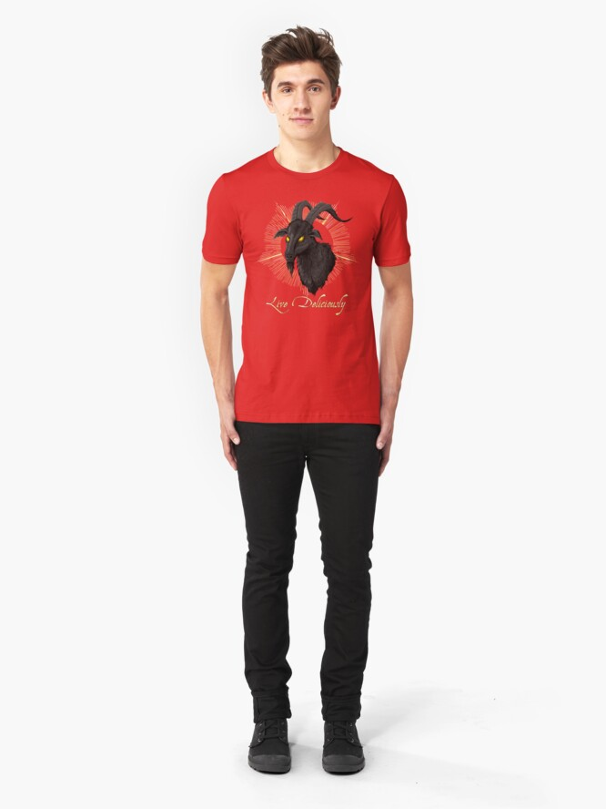 Alternate view of Black Phillip - Live Deliciously (The Witch) Slim Fit T-Shirt
