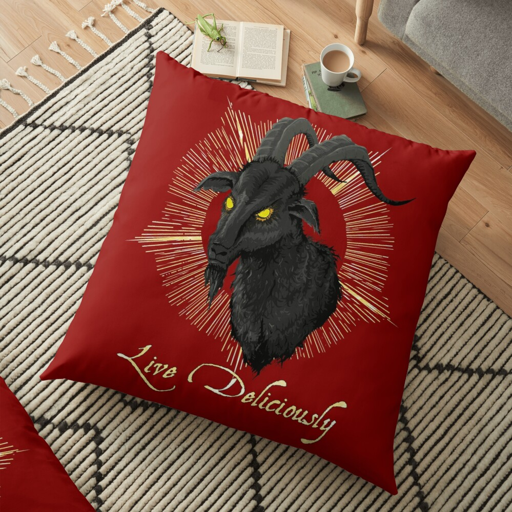 Black Phillip - Live Deliciously (The Witch) Floor Pillow