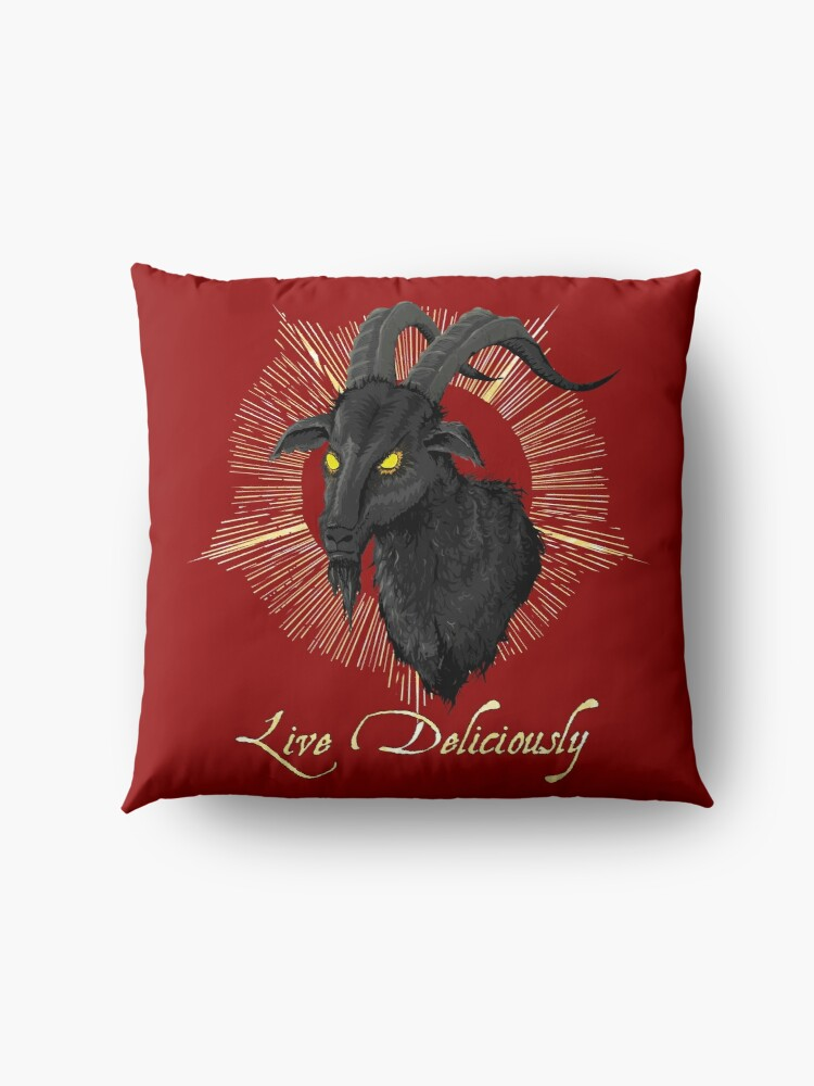 Alternate view of Black Phillip - Live Deliciously (The Witch) Floor Pillow