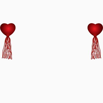 Red heart nipple tassels by DanTreasure