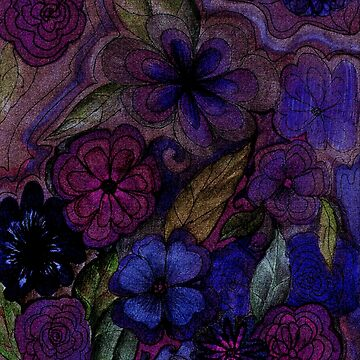 dark blue floral tapestry drawing  by jacquline8689