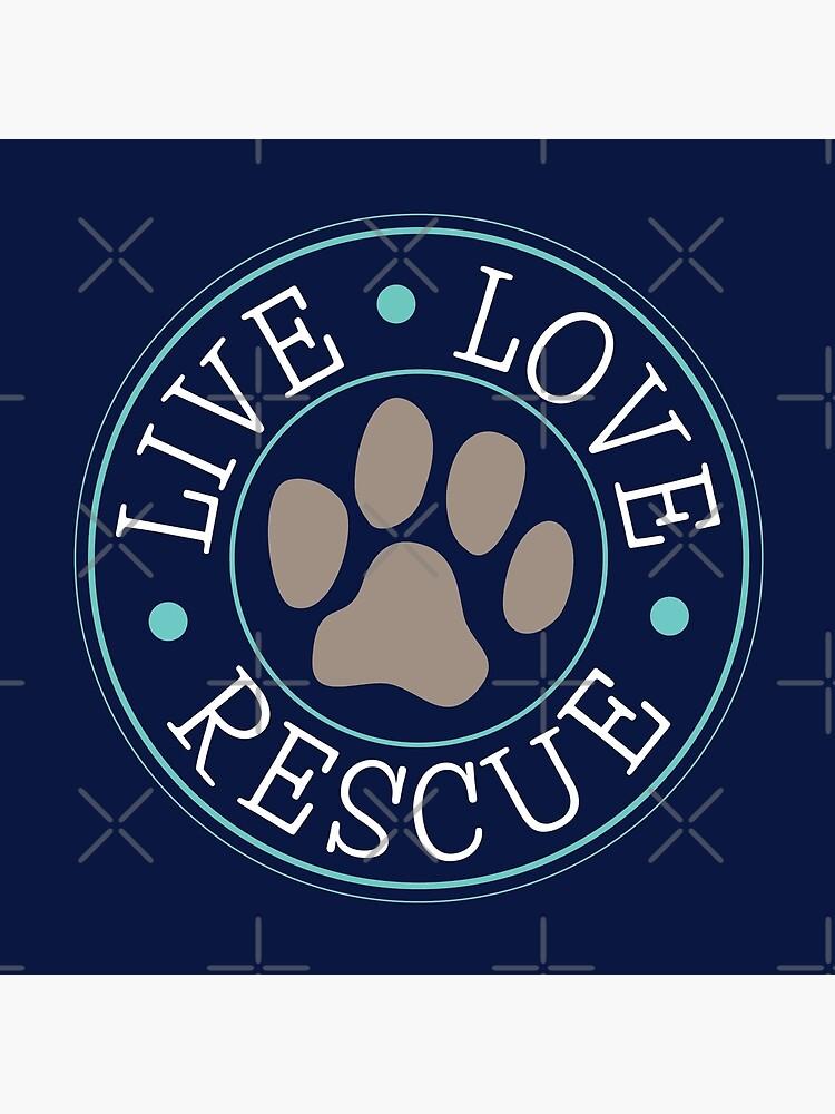 Live Love Rescue, Dog Paw Emblem by NestToNest