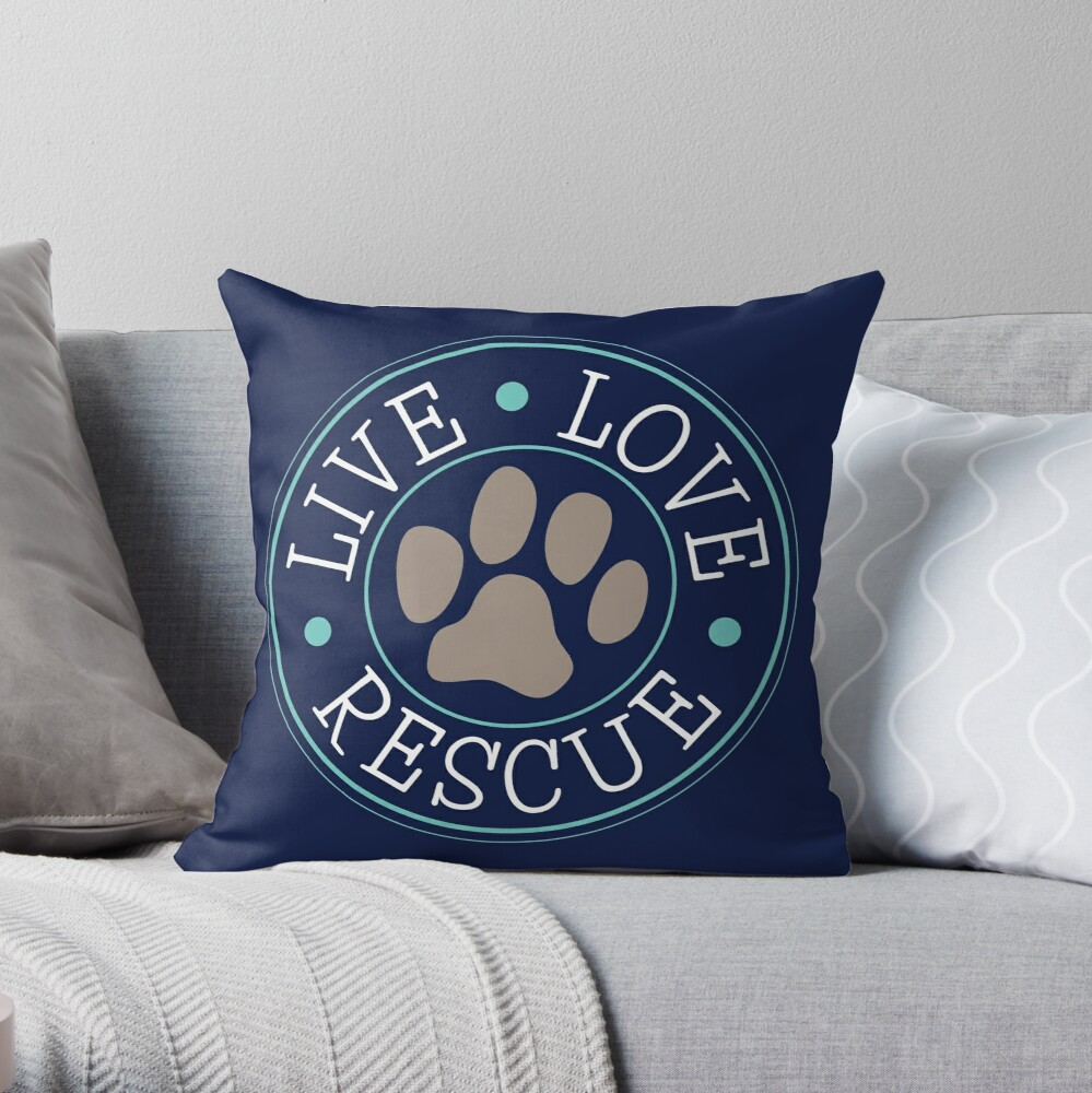 Live Love Rescue, Dog Paw Emblem Throw Pillow