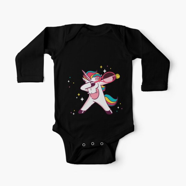 Tennis Unicorn Dab Dabbing Unicorn Gift Long Sleeve Baby One-Piece