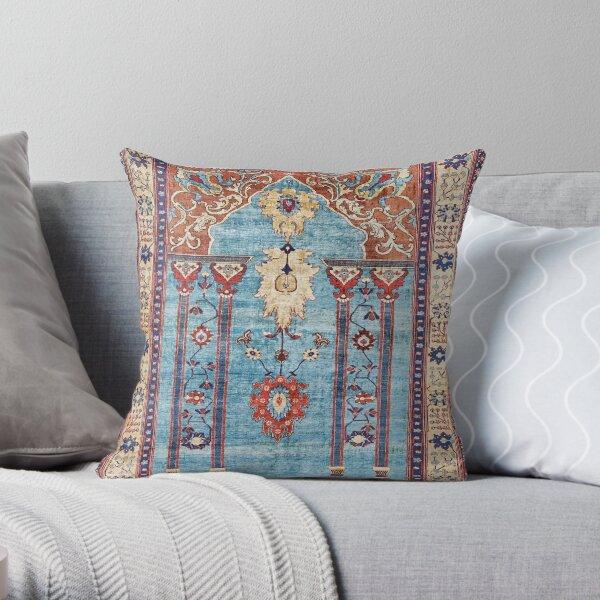 Antique Persian Silk Rug Print Throw Pillow