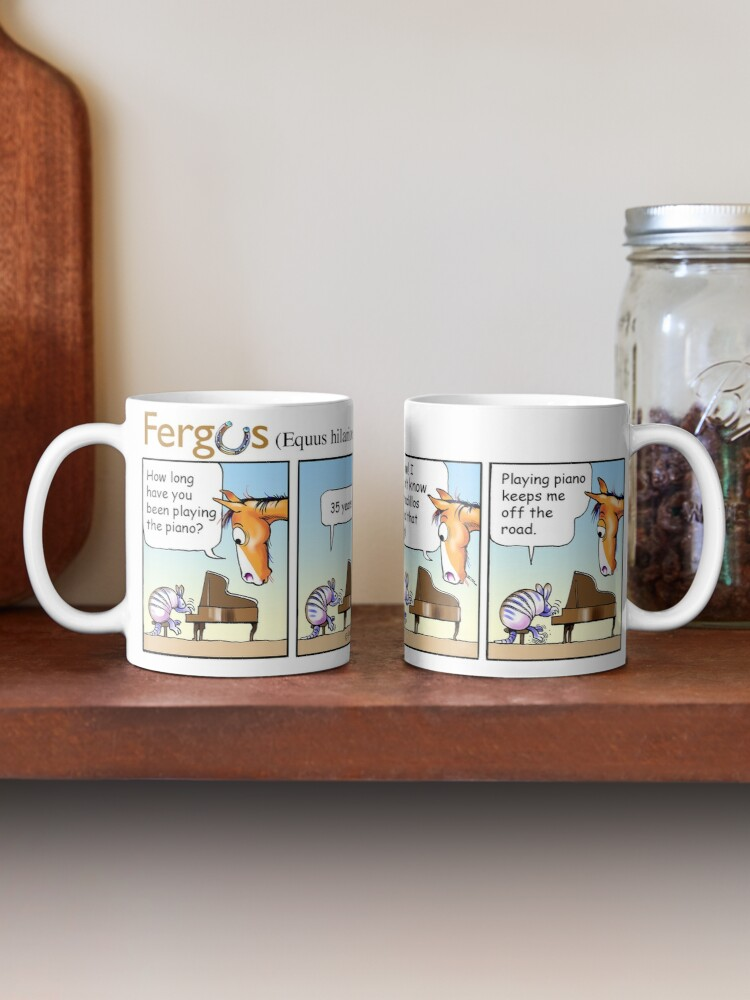 "Alternate view of Fergus the Horse: ""Armadillo"" Comic Strip Mug"