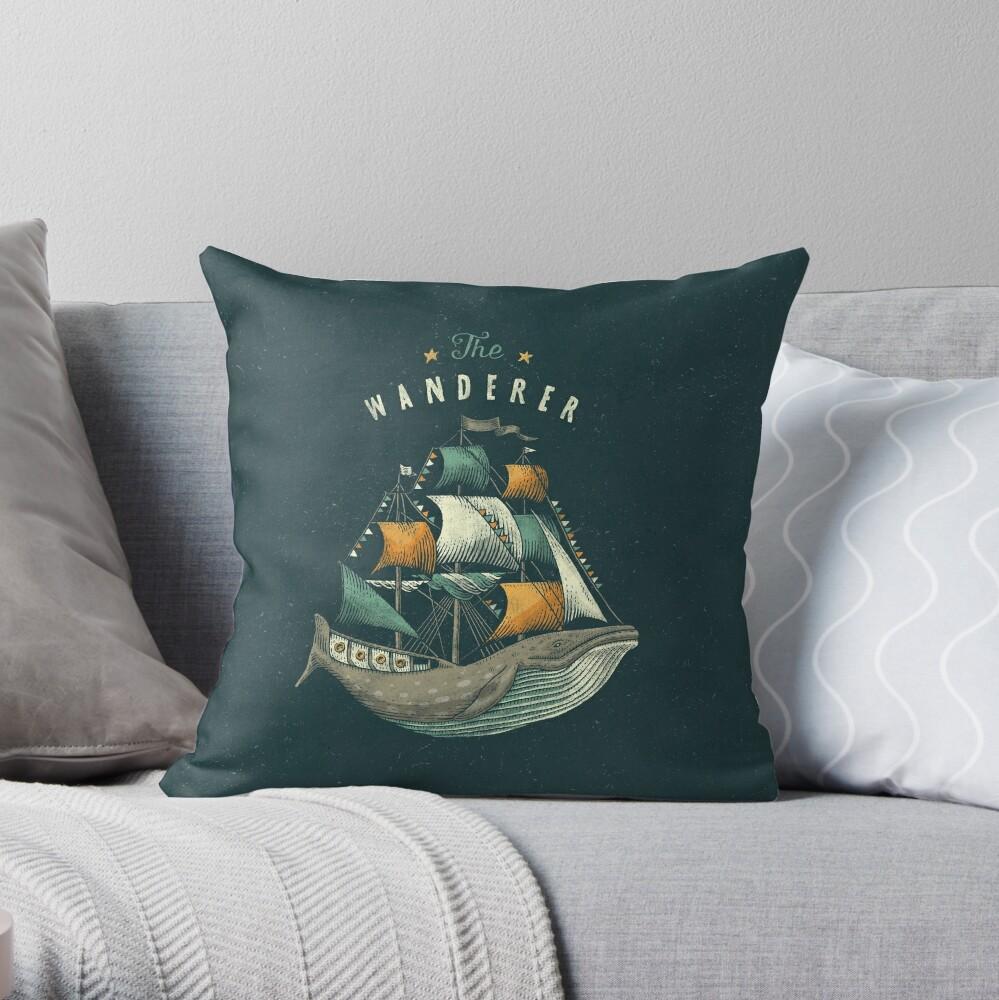 Whale   Petrol Grey Throw Pillow