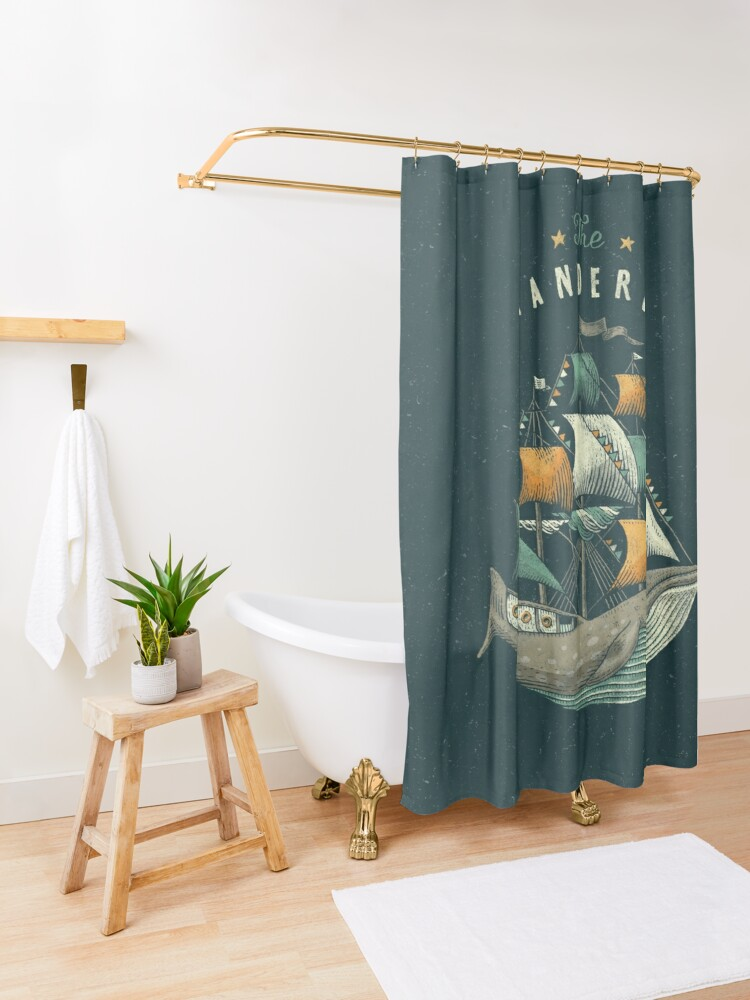 Alternate view of Whale   Petrol Grey Shower Curtain
