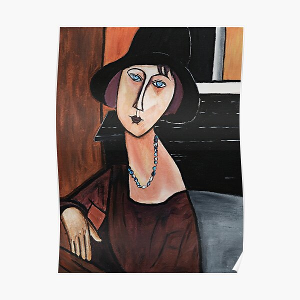 Jeanne Hebuterne avec chapeau et collier - Hommage à Modigliani Poster