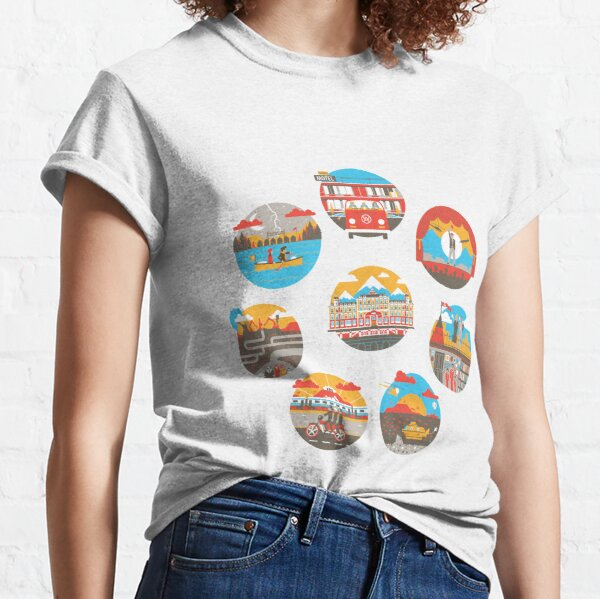 Wes Anderson Films Icon Illustrations Classic T-Shirt