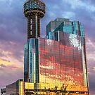 Reunion Tower Fiery Sunset Reflection by josephhaubert