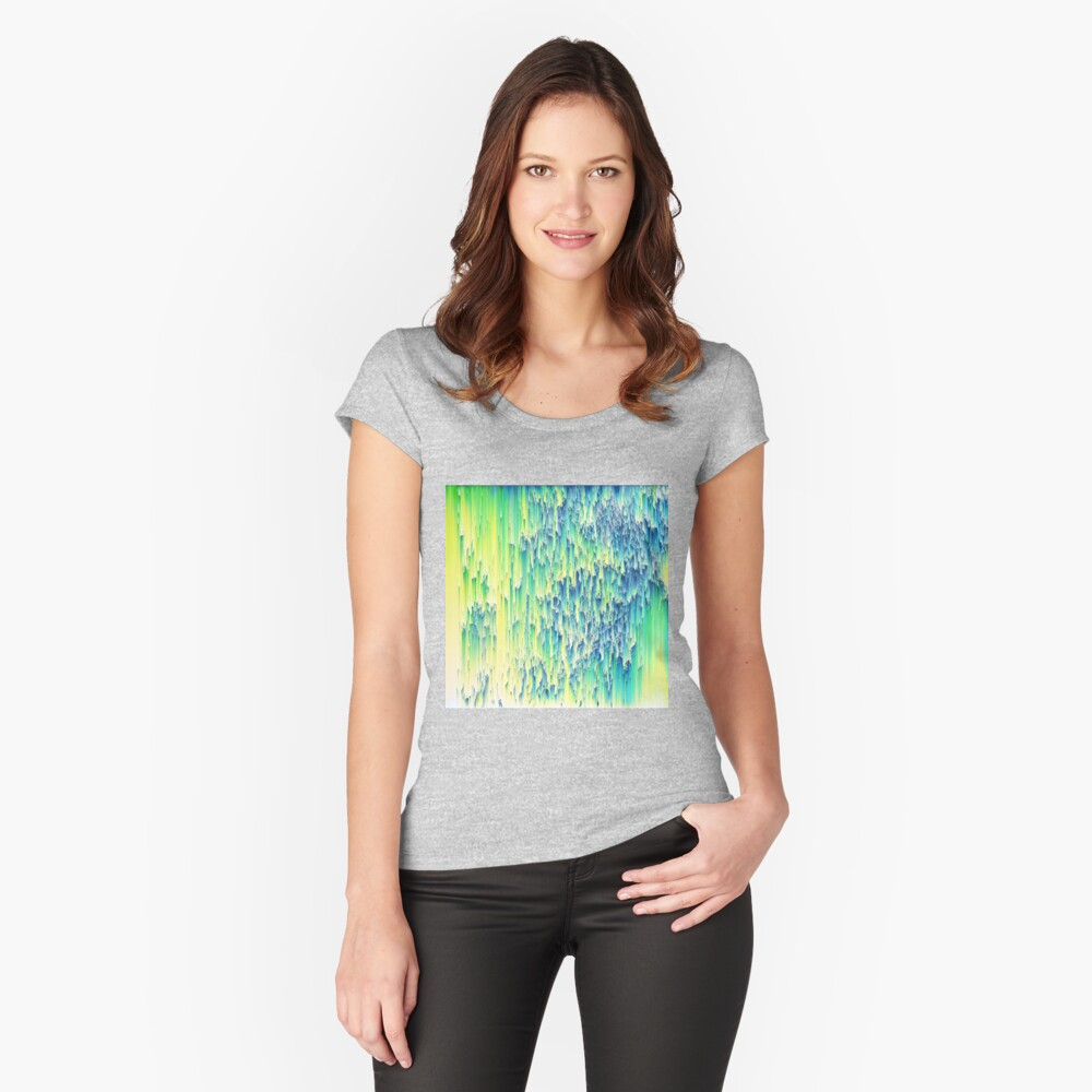 Pixel sort abstraction Fitted Scoop T-Shirt