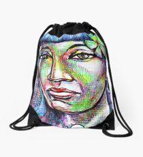 woman Girl female lady mermaid ocean sea siren Pin Drawstring Bag