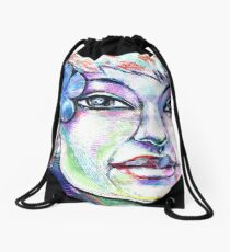 woman girl female lady pixie fairy nymph siren mermaid blue Drawstring Bag