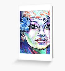 woman girl female lady pixie fairy nymph siren mermaid blue Greeting Card