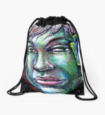 woman girl female lady mermaid fairy pixie faery beautiful beach  Drawstring Bag