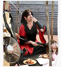 Medieval costume impression during mid day meal Poster