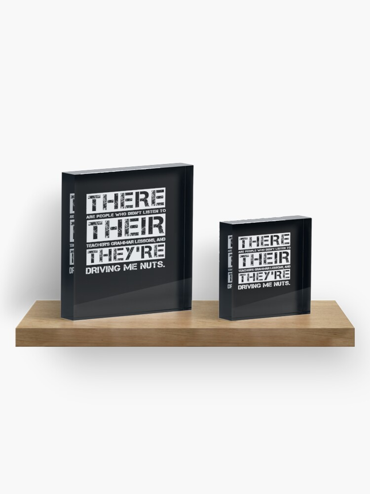 Alternate view of There Their They're Funny English Teacher Grammar Gift  Acrylic Block