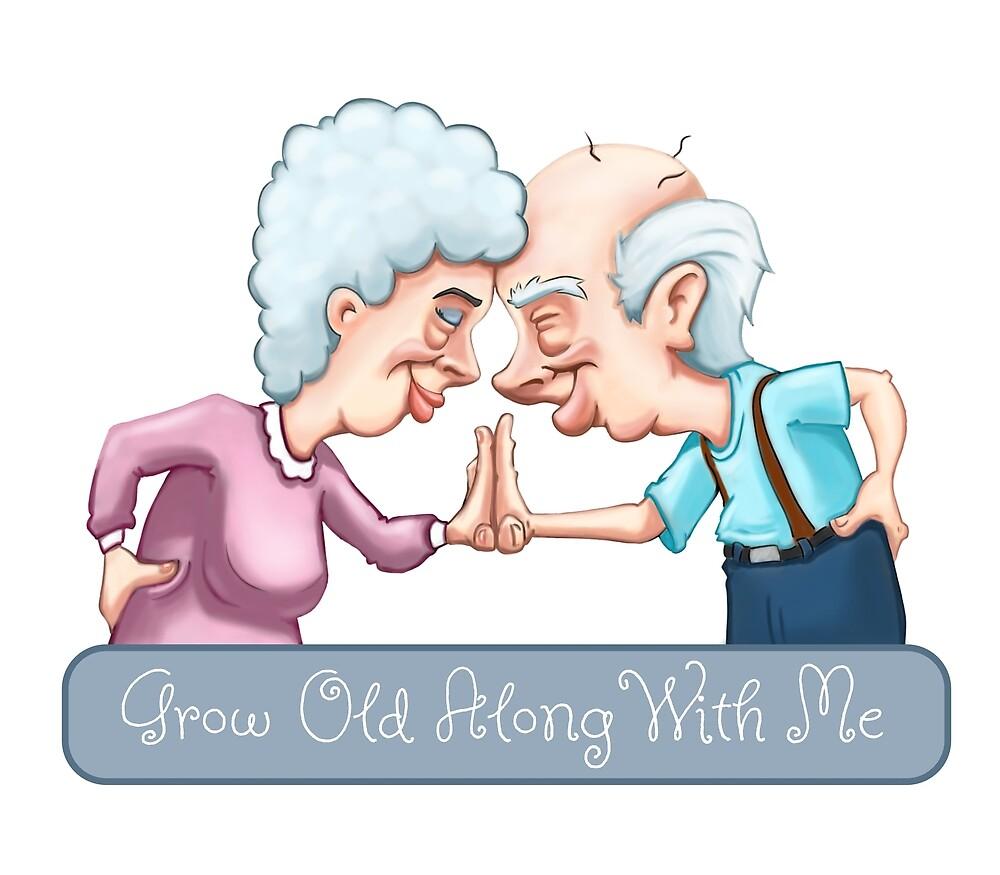 Grandpa and Grandma Touching Foreheads Illustration by sketchtodigital