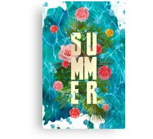 Summer collage with flowers and palm trees Canvas Print