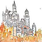 Neuschwanstein Castle Tinte und Aquarell von ColorandColor