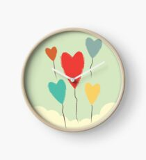 Heart Balloons above the Clouds  Clock