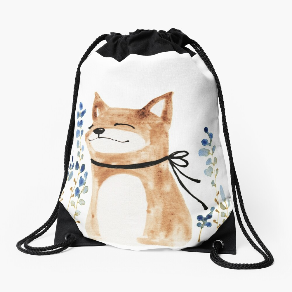 Fox and Flower Drawstring Bag