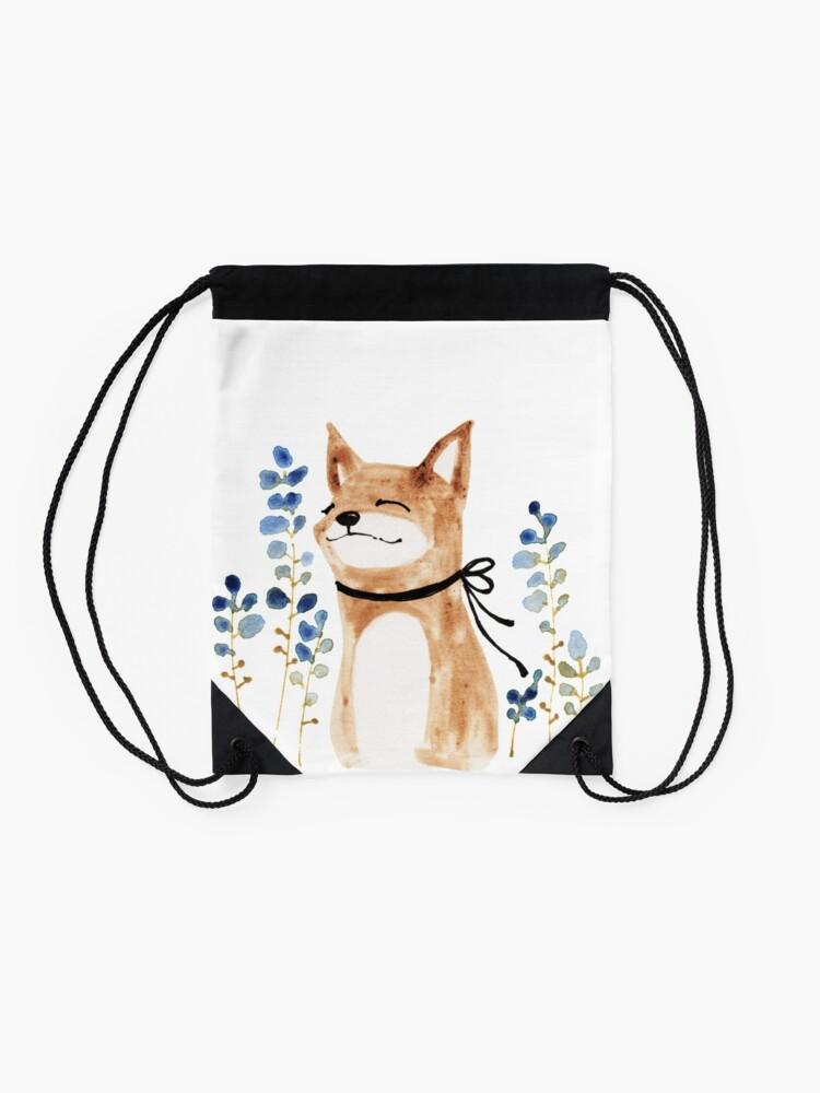 Alternate view of Fox and Flower Drawstring Bag