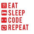 Eat Sleep Code Repeat  by Workwithstellio