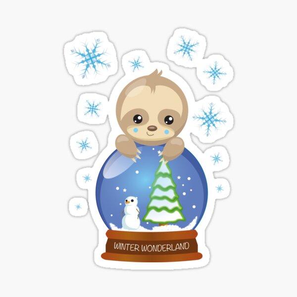 Sloth glass ball snowflakes Sticker