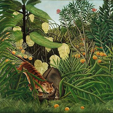Henri Rousseau - The Jungle - Tiger Attacking A Buffalo  by STYLESYNDIKAT