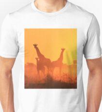 Giraffe - African Wildlife Background - Golden Sunset Bliss T-Shirt