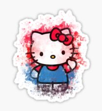Hello Kitty Inspired Shirt With Watercolor Art Sticker