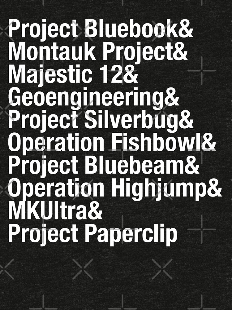 Greatest Conspiracies list,  Project Bluebook, UFO's, aliens. Typography list. by azule1