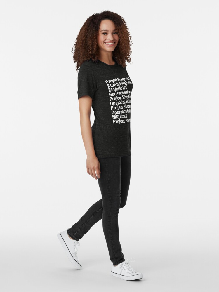 Alternate view of Greatest Conspiracies list,  Project Bluebook, UFO's, aliens. Typography list. Tri-blend T-Shirt