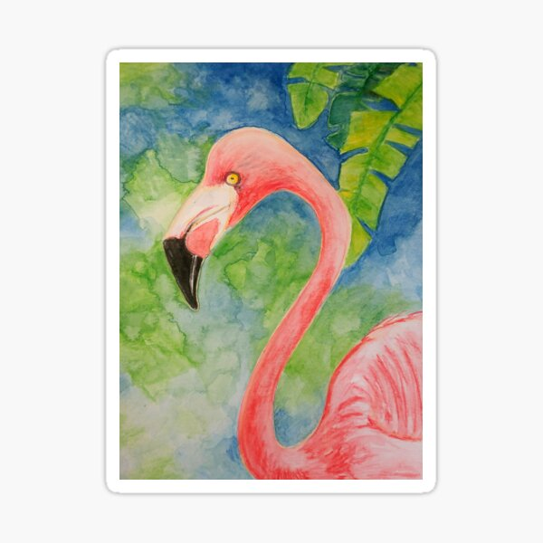 Flamingo Pink Watercolor Blue Green Tropical Bird Sticker