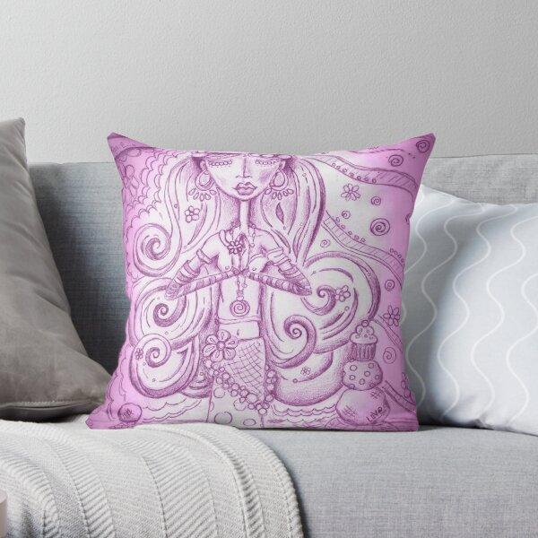 Purple Yoga Gypsy – Whimsical Folk Art Girl in Namaste Pose Throw Pillow
