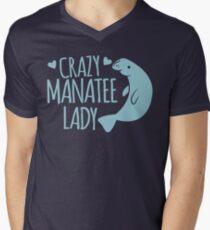 Crazy Manatee Lady Men's V-Neck T-Shirt