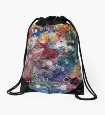 Portals, ink and mixed media on paper composite panel Drawstring Bag